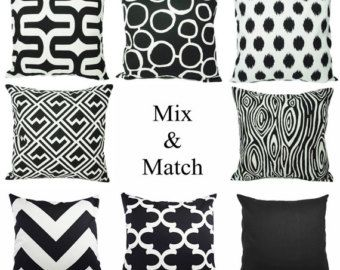 Black and White Pillow Cover - Modern Black Throw Pillow Cover - Black Euro Sham - Decorative Pillow Cushion Cover Accent Pillow