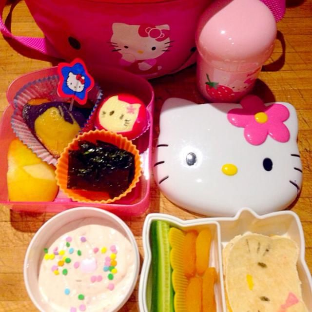 With rainbow gluten free heart cupcake :) - 6件のもぐもぐ - Hello Kitty Bento Lunch by Cheryl Melnick