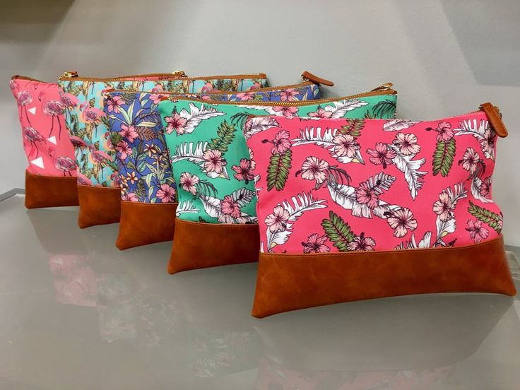 Bright Summer Printed Flamingos or Floral Clutch Bags