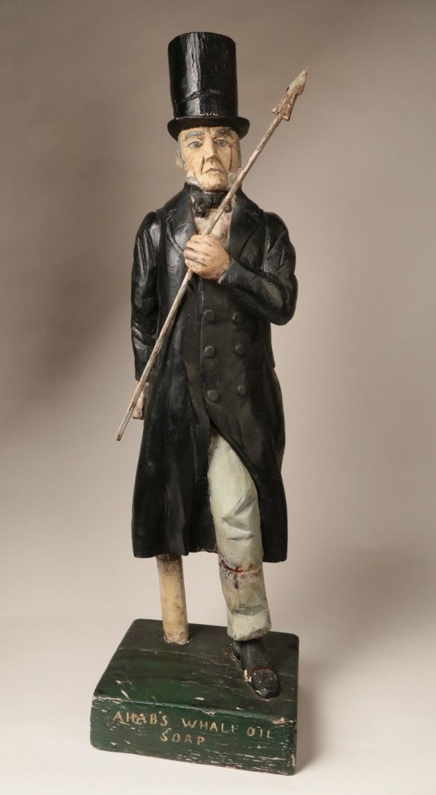 "Folk Art - Folk Art Advertising Figure of Captain Ahab, ""Ahab's Whale Oil Soap"" 