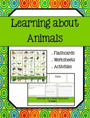 Learning about Animals (Flashcards, Worksheets and Activity) from 1 2 3 Creations by L Ackert on TeachersNotebook.com -  (33 pages)  - This is a great unit to add to any study about animals! Includes flashcards (42) of various animals, multiple worksheets for students to use with the flashcards PLUS habitat (location) cards!
