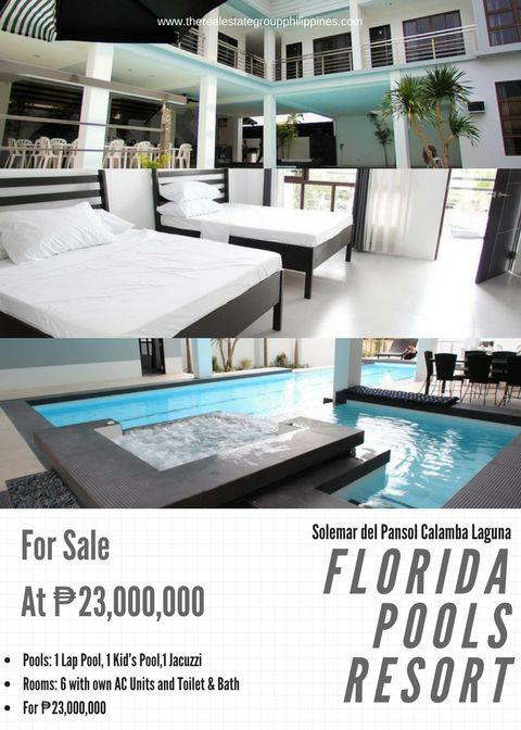 FOR SALE! FLORIDA POOLS RESORT Fully Furnished Lot Area: 500sqm Floor Area: 479sqm Pools: 1 Lap Pool 1 Kids Pool 1 Jacuzzi Rooms: 6 with own AC Units and Toilet & Bath For 23000000  Inclusive of VAT. With Driver's room Caretaker House and Generator  http://ift.tt/2pTDlIg