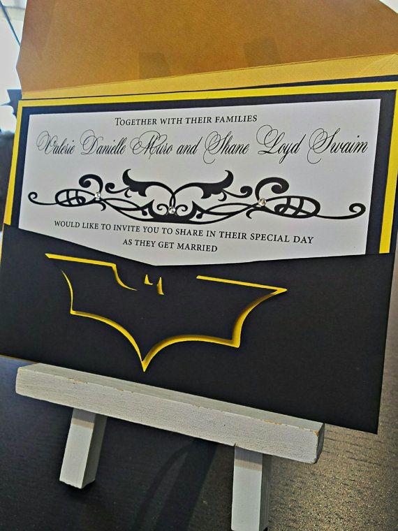 Pocket Wedding Invitation  Batman Wedding by AmiraDesign on Etsy