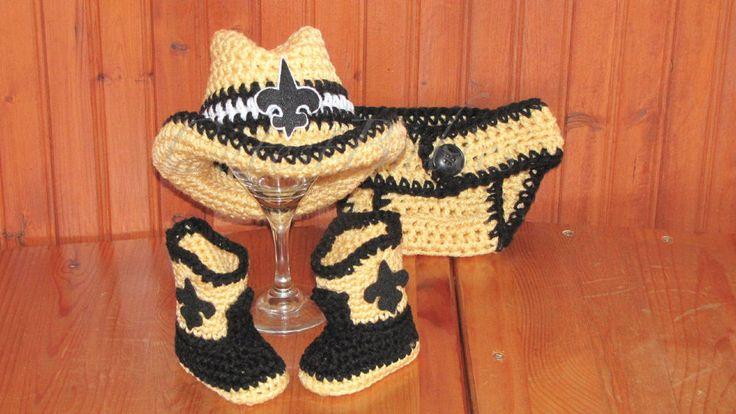 Baby Crochet New Orleans Saints Cowboy Hat, Boots & Diaper Cover. Photo Prop #Handmade