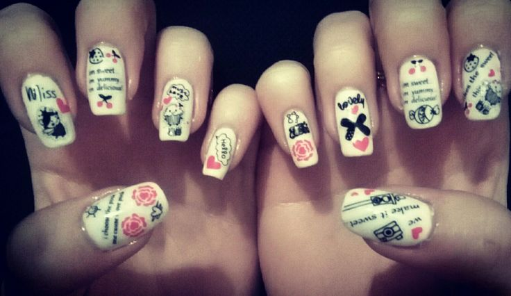 white nails with stickers #crazy