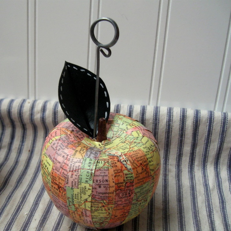 map apple photo holder original mapple upcycled vintage decoupage kansas