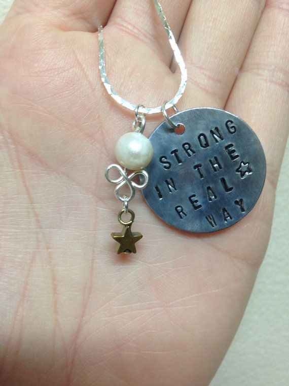 """Steven Universe Pearl Necklace Hand Stamped Charm """"Strong in the Real Way"""" w/Matching Earring Option!"""