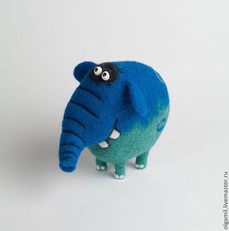 Слон Тихон - синий,зелёный,слон,слоник,смешной подарок,войлок,шерсть,кардочес