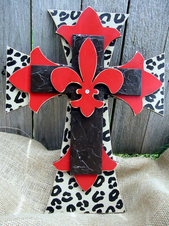 Red and Leopard Print Hand Painted Wooden Cross by PoshReCreations, $34.00