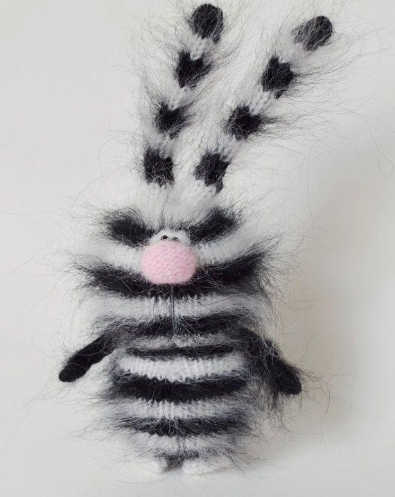Bunny Striped Zebra -  Funny Rabbit - Amigurumi  Toys For Children - Striped Bunny Black-White Handmade Knitted toys - Animals Hare