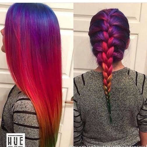 #repost @ModernSalon -- Are you inviting #SpringTime into your #hairlife, too by going brighter?! Lol, not quite ready for a full head of #rainbow hair?! Start off with our #FantasyColors and just add a few highlights!!