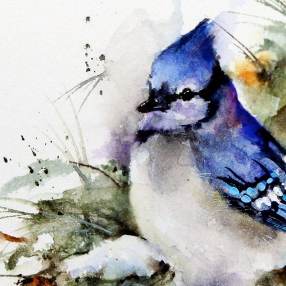 BLUE Jay Winter Watercolor Print by Dean Crouser by DeanCrouserArt