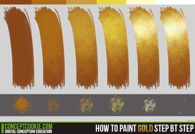 How to paint gold tutorial by ConceptCookie.deviantart.com on @DeviantArt