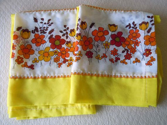 SALE Vintage 1970s Yellow Kitchen Curtains Orange By RecycledWares, $29.99