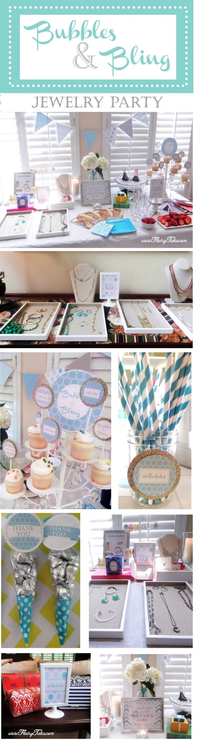 Ideas for hosting a Bubbles & Bling jewelry party.  This one features Stella & Dot accessories...so fun!  www.flairytales.com
