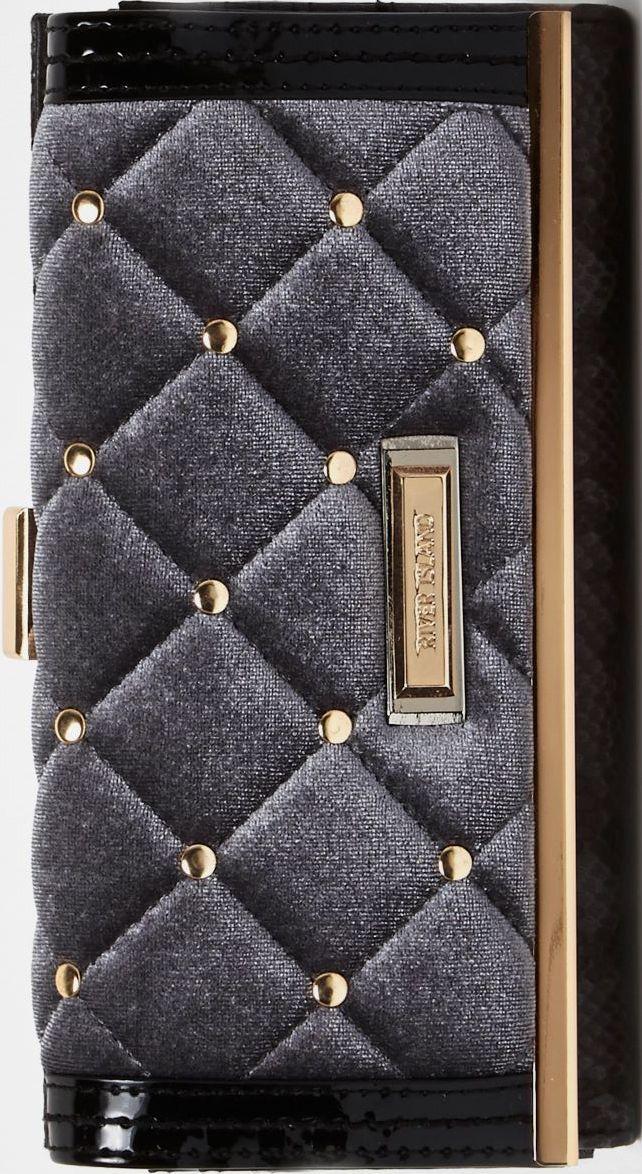•Website: http://www.cuteandstylishbags.com/portfolio/river-island-grey-quilted-velvet-clip-top-purse/ •Item: River Island Grey Quilted Velvet Clip Top Purse