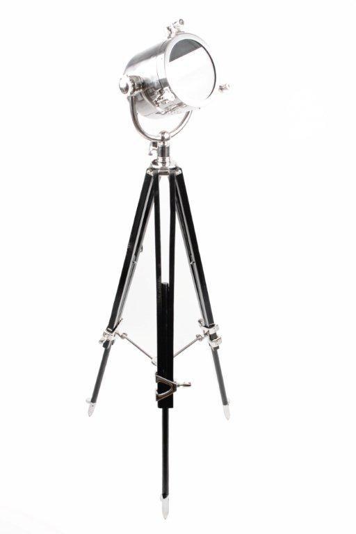 http://mooseartdesign.pl/pl/lampy/lampa-podlogowa-reflektor-loft-detail  Wymiary: Max. Wysokość 160cm Materiał: Stal polerowana/ Żarówka E27