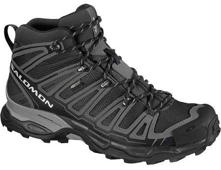 Men's Salomon X Ultra Mid Gtx Hiking Boots: Stable and protective light weight mid-height hiking shoe with Gore-tex weather protection and an aggressive grip. With mid-height protection for more rugged terrain a mud guard and toe protector for added protection and durability and aggressive tread.
