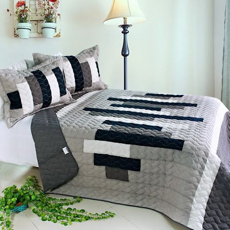 Elegant Black White Grey Striped Teen Bedding Girl Boy Quilt Set Oversized Bedspread - an idea for Jaxen (V found this)