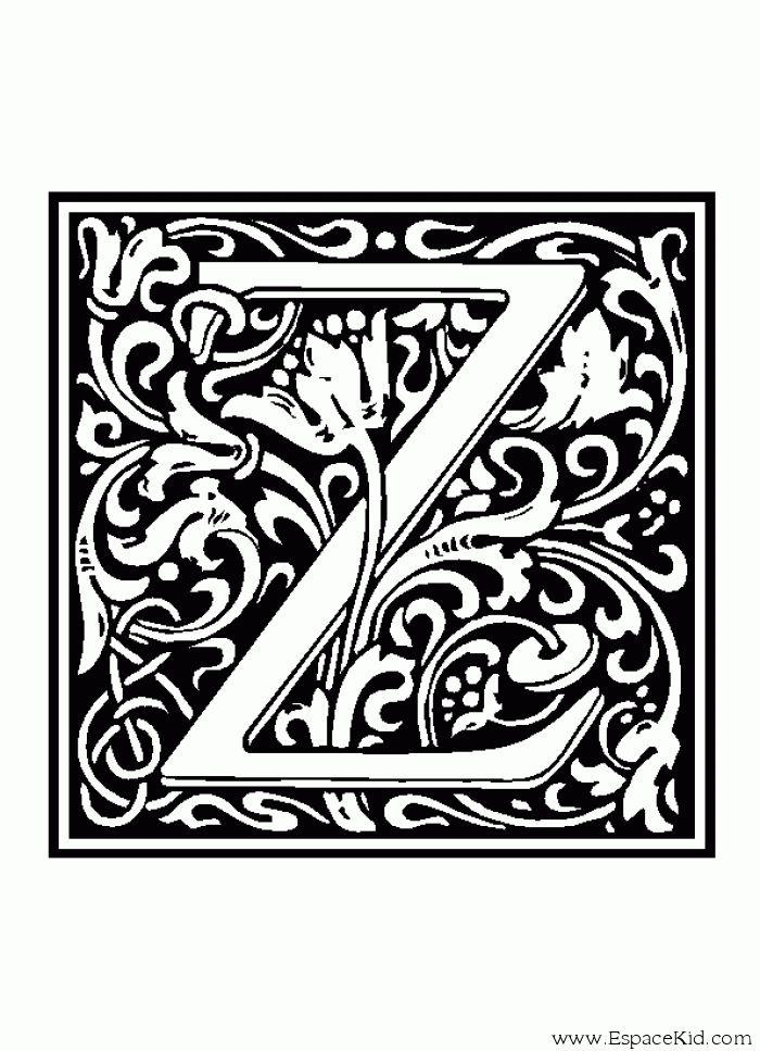 Coloriage Lettre Z  coloriages Lettrine  Alphabets  10 Sets  Vol 1  Lettering Monogram