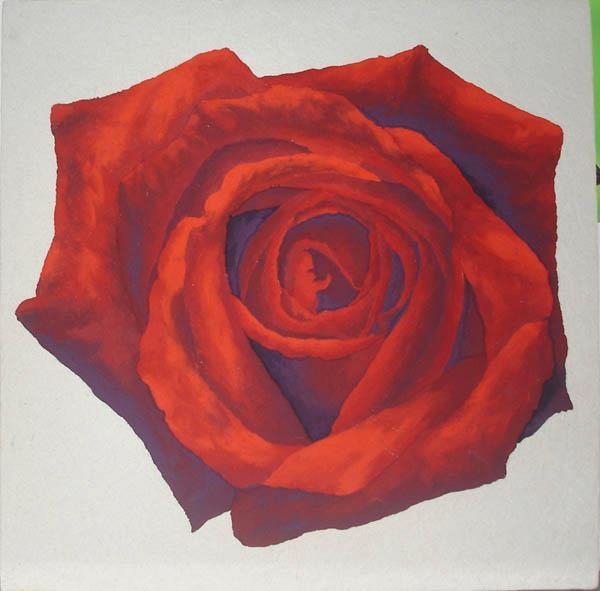 "Massimo Catalani ""H.P.E.B. Mandala di rosa rossa""  marmo di carrara, sabbia del sahara, pigmenti  cm. 62 x 62"