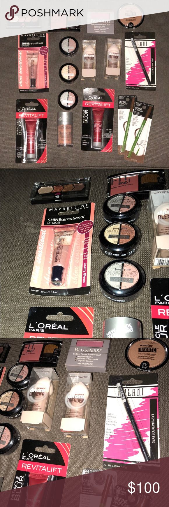 BRAND NEW MAKEUP BUNDLE Everything is brand new!  Retails for around $110+tax..   Includes:  2 Maybelline define a brow in light brown Maybelline lip gloss in cherry bloom  L'Oréal skin smoother  L'Oréal on the loose luminous powder in peach soleil  Maybelline dream blender Maybelline fit me blush in deep wine  Milani black eyeliner  Maybelline master bronze in paradise bronze  3 L'Oréal duo shadows  L'Oréal blush in cherie  Maybelline eyeshadow quad in copper chic ulta Makeup