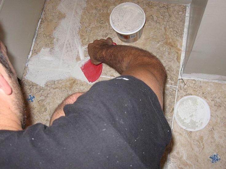 bathroom / laundry room floor: Bathroom Laundry Rooms, Diy'S, Tile Flooring, Tile Floors, Future Floors, Bathroom Remodel, Laundry Room Floors, Diy Grouted Vinyl, Mom S Bathroom