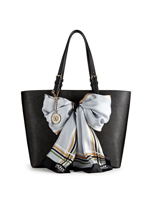 Saffiano Leather Scarf Shopper - DKNY