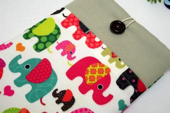 "elephants iPad Mini Cover, Kindle FIre HD 7"" Case or 8""  Custom Sleeve with Pocket, ipad mini case,"