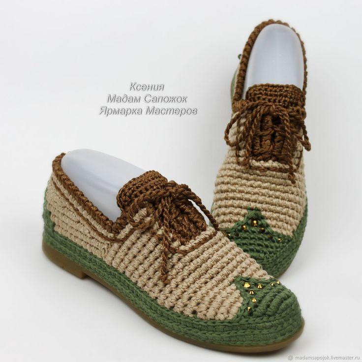 Купить Туфли оксфорды на шнурках вязаные - бежевый, тёмно-зелёный, мокасины, мокасины женские