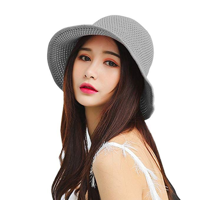 6c710d215a7 HUAMULAN Women Sun Hat Summer Hollow Out Cotton Knit Cap Elegant UPF 50  Review