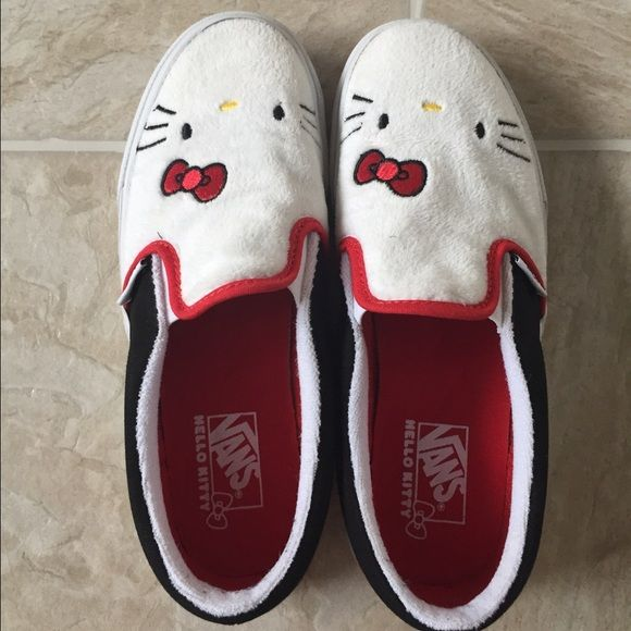 Vans Hello Kitty slip ons Vans Hello Kitty slip ons, super rare, kids size 3,5, used once, no box. Vans Shoes Sneakers