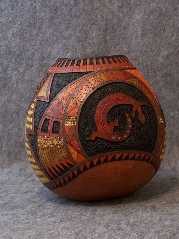 Fine Gourd Art  Southwestern Carved Gourd by Lathe Stark