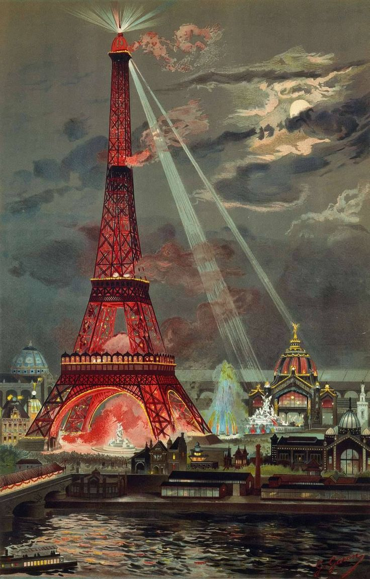 Public Domain - free to print.  Georges Garen's 1889 painting of a newly inaugurated Eiffel Tower lit spectacularly for the Universal Exhibit of 1889 gives a dramatic sense of the tower's unveiling in Belle-Epoque Paris.