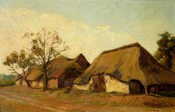 Marie Slager-Van Gilse (1891-1968). Schuren langs een zandweg. Olieverf op doek, 60 x 90 cm. 's-Hertogenbosch, Museum Slager.