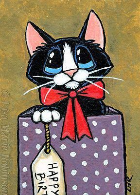 Original Black & White Cat ACEO, regalo de cumpleaños Purrfect de Lisa Marie Robinson