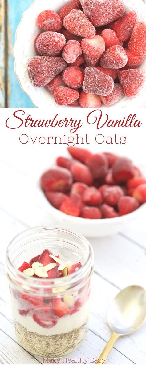Strawberry Vanilla Overnight Oats are easy to make ahead and delicious to enjoy for any meal on the go. These oats are filling thanks to the fiber and protein in Greek yogurt. ~ http://jennabraddock.com
