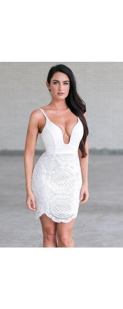 Lily Boutique It's Magic Plunging Neckline Bodycon Dress in White, $52 White…