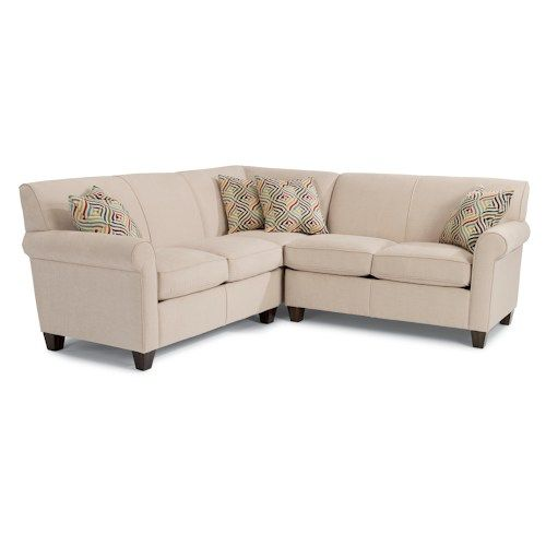 flexsteel dana three piece corner sectional sofa