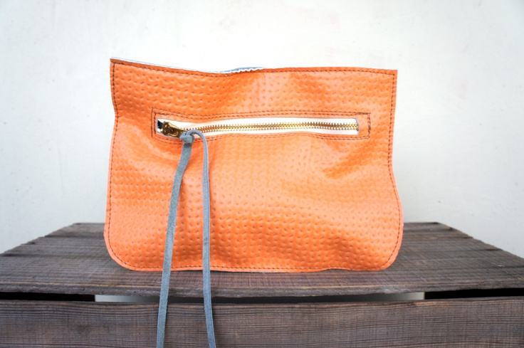 SAMPLE// Pouch/Clutch in Embossed Tangerine and French Blue Leather