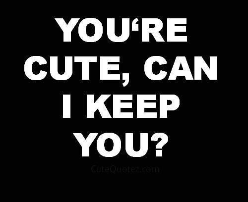 You're cute, can I keep you?. Cute quotes on PictureQuotes.com.