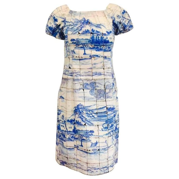 Prada Blue and White Porcelain Print Cotton Shift Dress With Pouf Short Sleeves | From a collection of rare vintage day dresses at https://www.1stdibs.com/fashion/clothing/day-dresses/