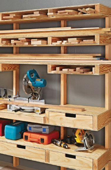 17 best images about miter saw on pinterest shops - Small workshop storage ideas ...