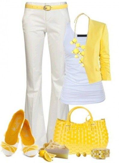 Look bianco e giallo