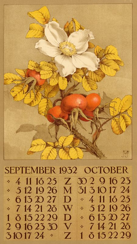 1932 ¤ September October calendar 6 leaves : col. ill. ; 40 x 22 cm. Créateur: Voerman, Jan, Jr. ( illustrator )