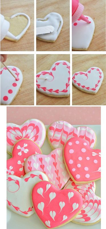 Marbled Cookie Hearts - cute decorating ideas