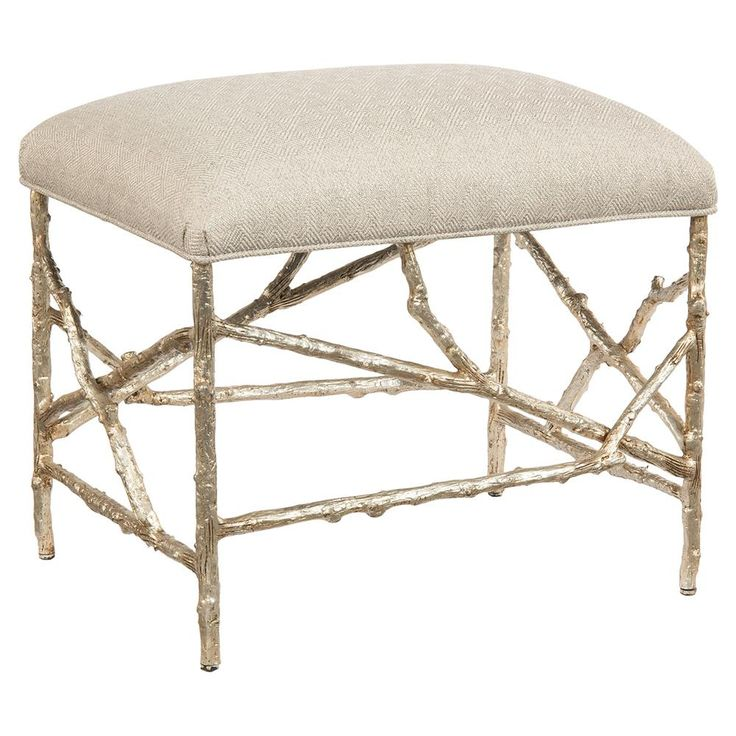 Airlie Coastal Silver Branch Cream Herringbone Ottoman Stool | Kathy Kuo Home