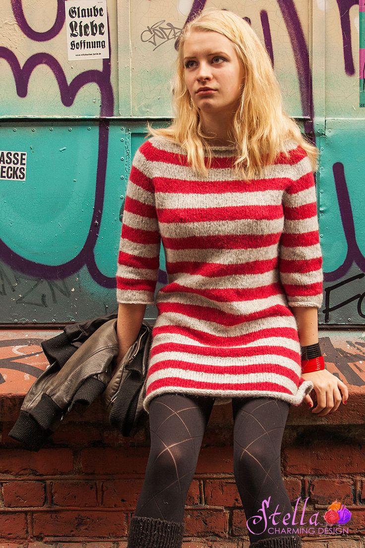 Mønster på nydelig strikket tunika / kjole