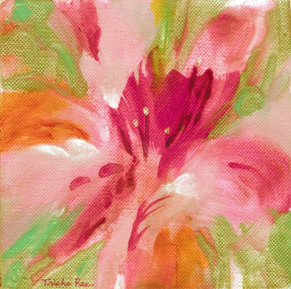 Best 25 abstract flower paintings ideas on pinterest for Bright flower painting