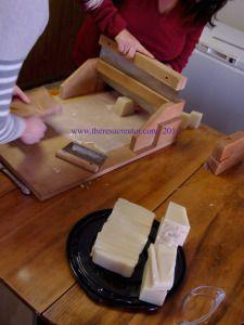 Cutting fresh soap with my big bar cutter.